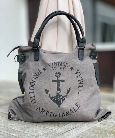"""Vintage"" Anchor Large Canvas Bag - Grey (Black Straps)"
