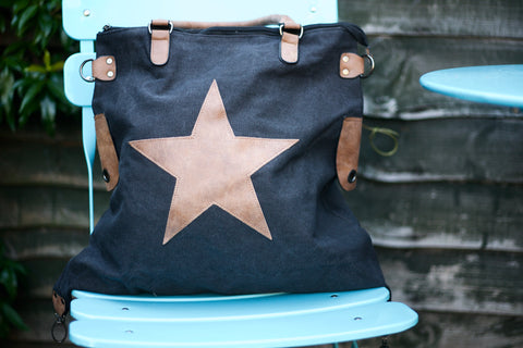 Large Star Canvas Bag - Black