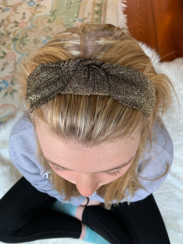 Golden Glimmer Knotted Headband