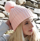Ribbed Pom Pom Hat - Soft Pink