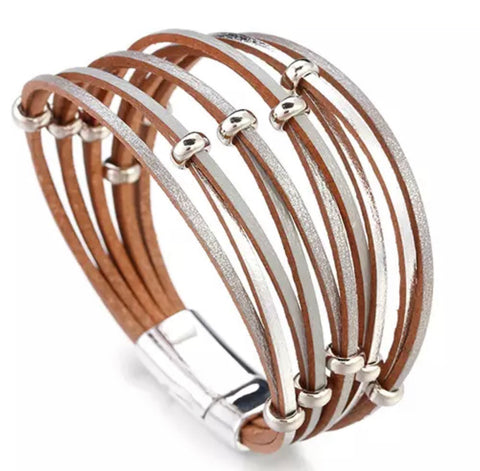 Faux Leather Ring Twist Bracelet - Silver & Grey