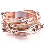 Faux Leather Ball Wrap Bracelet - Rose Gold