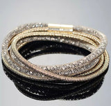 Mesh & Crystal Wrap-Around Bracelet - Coffee