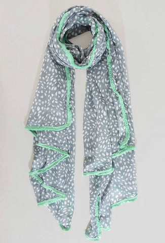 Poppy Scarf - Grey & Mint