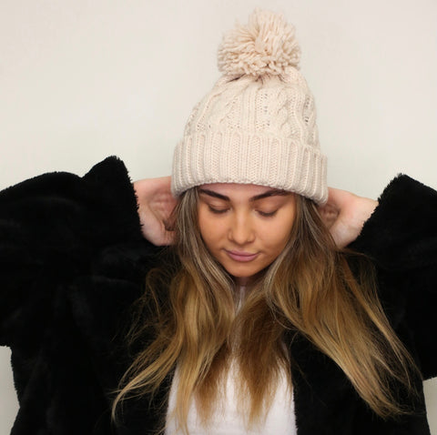SECOND Cosy Knit Pom Pom Hat - Oatmeal