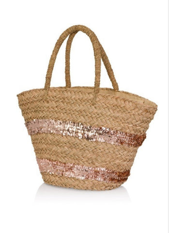 Rose Gold Sequin Straw Beach Bag