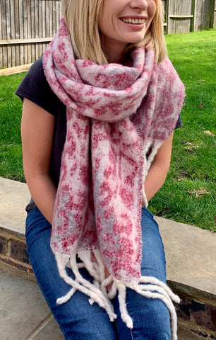 Pink Leopard Winter Scarf