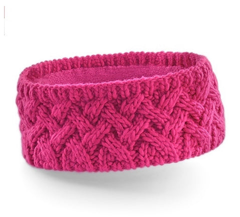 Cable Knit Ear Warmer - Pink
