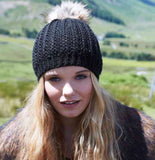 Close Fit Faux Fur Pom Pom Hat - Black