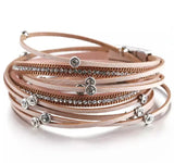 Faux Leather Crystal Charm Wrap Bracelet - Rose