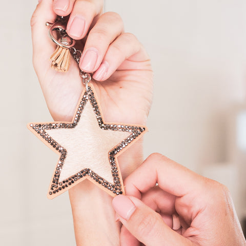 Star Keychain - Faux Fur & Crystal