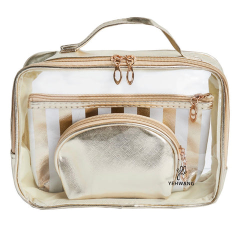 Three-In-One Makeup Bag - Gold