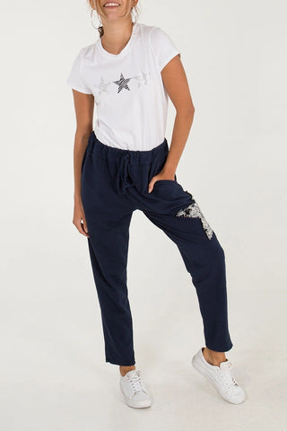 Sequin Star Joggers - Navy