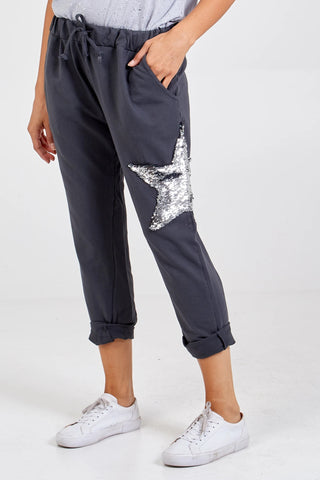 Sequin Star Joggers - Charcoal