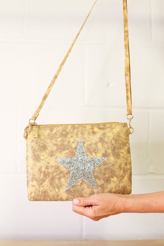 Leather Effect Clutch / Shoulder Glitter Star Bag - Yellow