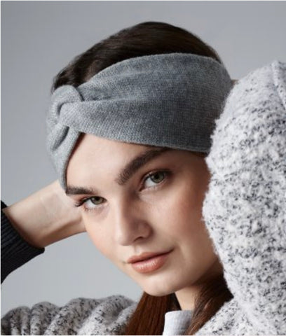 Twisted Ear Warmer - Grey Marl