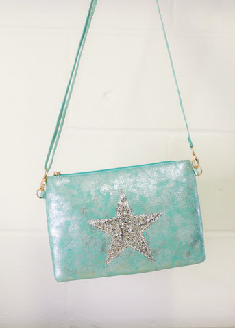 Leather Effect Clutch / Shoulder Glitter Star Bag - Aqua