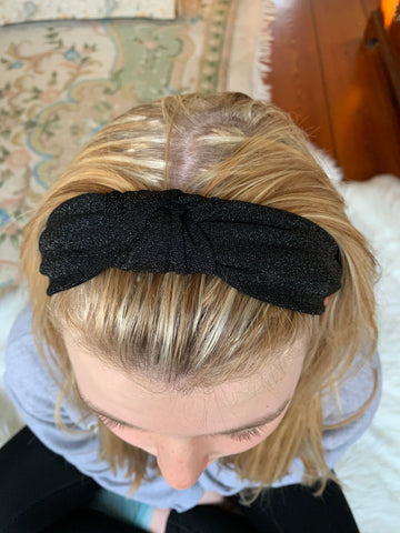 Black Glimmer Knotted Headband