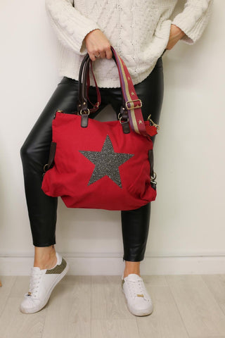 Large Crystal Encrusted Canvas Star Bag - Merlot