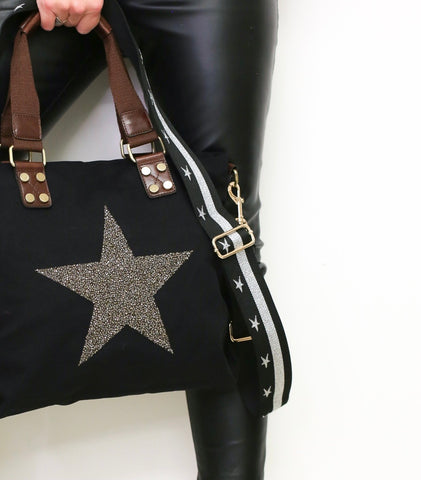 Glitter Star Bag Strap - Black & Silver
