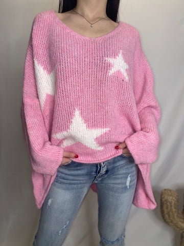 Oversized Star Sweater - Blush Pink