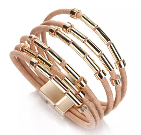 Faux Leather Bar Wrap Bracelet - Pale Coffee