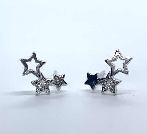 Small Triple Glitter Star Earrings