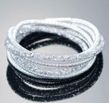 Mesh & Crystal Wrap-Around Bracelet - Silver
