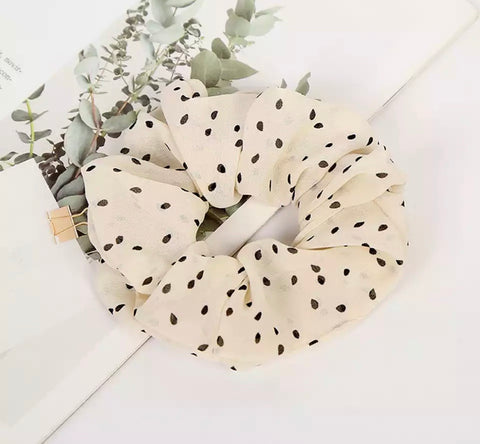 Polka Dot Scrunchie - White