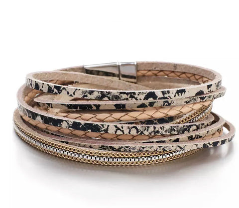 Faux Leather Snakeprint Wrap Bracelet - Beige