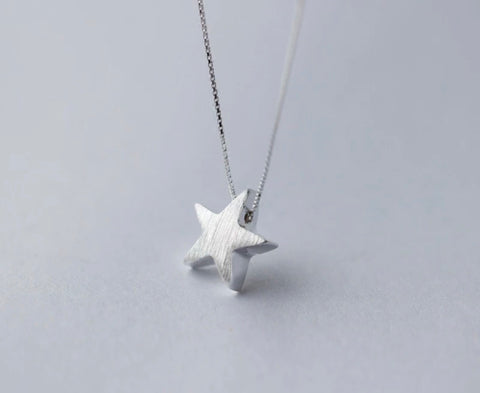 Brushed Silver Star Necklace