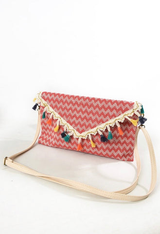 Chevron Tassel Bag - Summer Red