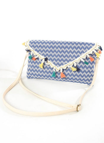 Chevron Tassel Bag - Summer Blue