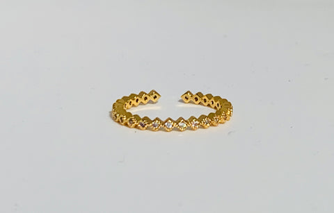 Crystal String Ring - Gold