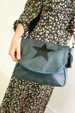 Leather Effect Messenger Bag - Petrol Blue