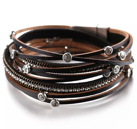 Faux Leather Crystal Charm Wrap Bracelet - Black