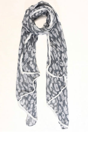 May Scarf - Grey & White