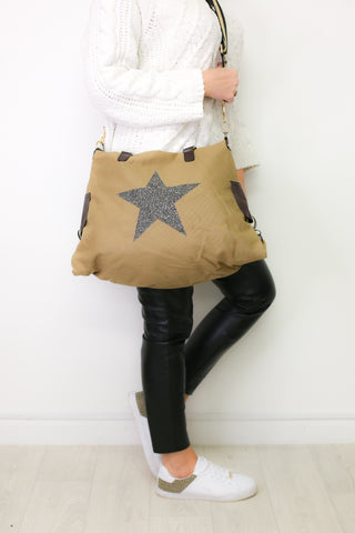 Large Crystal Encrusted Canvas Star Bag - Khaki