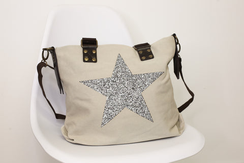 Medium Crystal Encrusted Canvas Star Bag - Cream