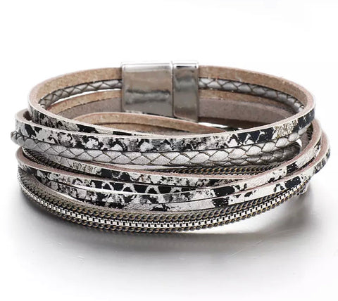 Faux Leather Snakeprint Wrap Bracelet - Grey