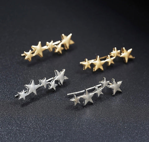Star Ear Climber Earrings - Silver