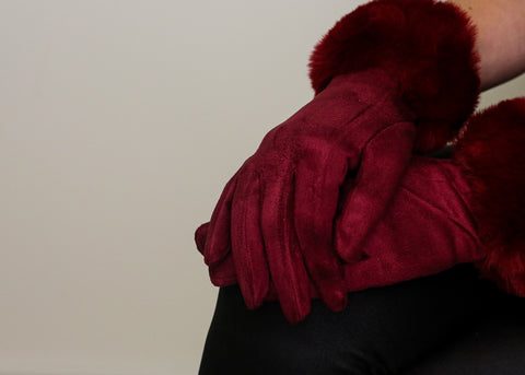 Faux Fur Gloves - Burgundy