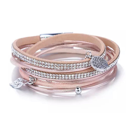 Faux Leather Crystal & Charm Wrap Bracelet - Rose Gold