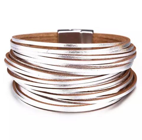 Faux Leather Thong Wrap Bracelet - Silver