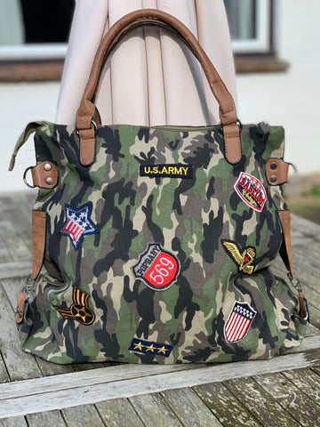 Large Camo Shoulder Bag - Army Green