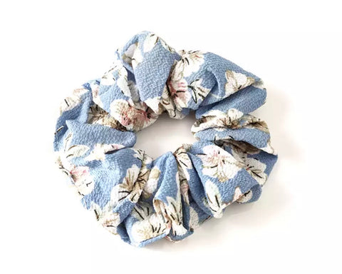 Chiffon Floral Scrunchie - Light Blue