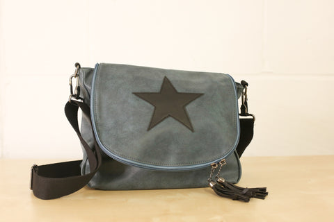 SECOND Leather Effect Messenger Bag - Denim Blue