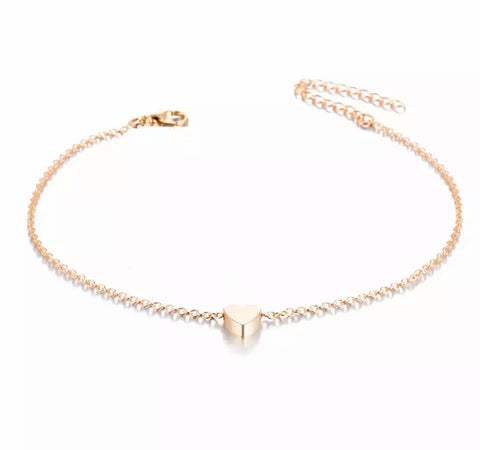 Single Heart Anklet - Gold