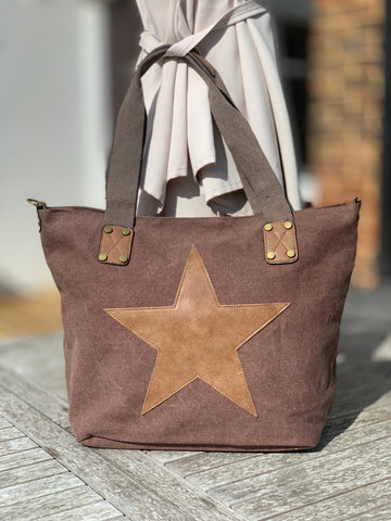 Star Canvas Bag - Chocolate