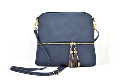 Leather-Effect Tassel Cross Body Bag - Midnight Blue